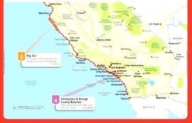 Coast Road Map Google Maps Detailed Of Coastline California Pdf County Fires Closures