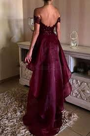 low burgundy off the shoulder lace prom dresses party evening