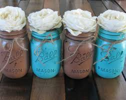 4 Pint Mason Jars Decorative Teacher Appreciation Gift Coffee Table Home Decor Turquoise And Brown Vases