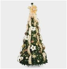 Pre Decorated Pull Up Christmas Tree Good 6 1 2 Lighted Lit Artificial
