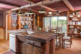 Rustic Kitchen Island Style With Reclaimed Wood Counter Floors And Beam Ceiling