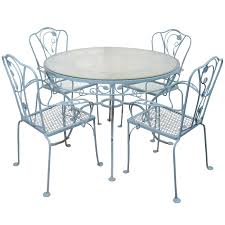 Salterini Iron Patio Furniture by Vintage Salterini Wrought Iron Table And Chairs In Powder Blue