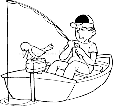 Fisherman In A Boat Coloring Pages Printable