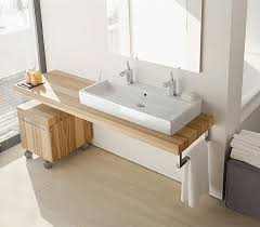 bathroom wooden floating vanity table with white through sink