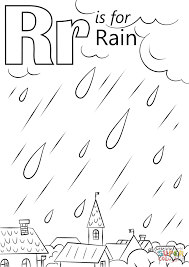 Letter R Is For Rain Coloring Page And