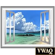 Wall Mural Decals Beach by Beach Front Window Frame Sky Clouds Vinyl Wall Decal Window Frame