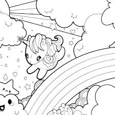 Unicorn And Rainbow Coloring Pages Color Page Printable