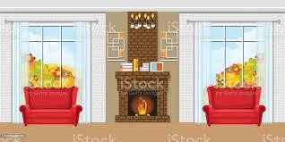 gemütliches wohnzimmer mit kamin und roten stühlen stock vektor und mehr bilder architektur