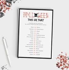 Scary Halloween Scavenger Hunt Riddles by Halloween Game For Adults Or Teens This Or That Fun