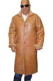 men u0027s genuine shearling sheepskin long trench warm coat buttons