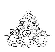 Children Around A Christmas Tree Coloring Pages
