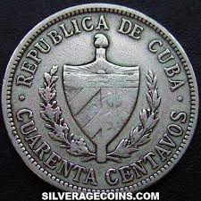 1915 Cuban Silver 40 Centavos High Relief Star