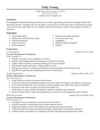 Maintenance Planner Resume Sample Best General Technician Example Automotive Medium