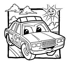 Police Car Coloring Pages Cartoon