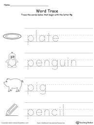 Trace Words That Begin With Letter Sound P