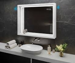 spiegel mit led beleuchtung mit ablage und rahmen woodenframe