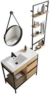 vinci badmöbel set waschtisch links 85cm unterschrank