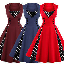Womens Polka Dot Vintage 1950s Rockabilly Casual Evening Party Swing Dress