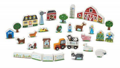 Melissa & Doug Wooden Play Set- Farm & Tractor