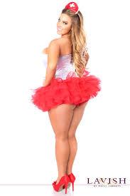 red white nurse corset costume 4pc