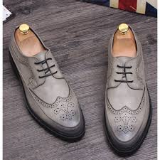 Retro Vintage Gray Leather Wedding Prom Dress Brogue Oxford Shoes Men SKU 1100213