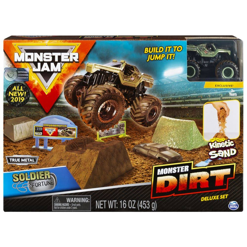Monster Jam Soldier Fortune Monster Dirt Deluxe Set Featuring 16oz of Monster Dirt and Official Die-Cast Monster Jam Truck