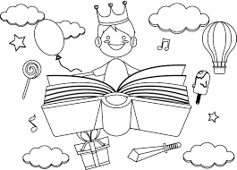Boy Imagination Dreams Reading Book Coloring Page