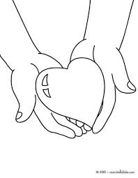 Winged Hearts Heart In Hands Coloring Page