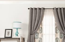 contemporary living room with gray curtain panels target and