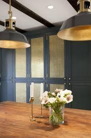 navy white and brass kitchen