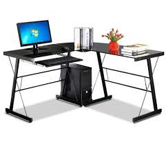 Black Glass Corner Computer Desk by Furniture L Shaped Modern Computer Desk With Black Glass And