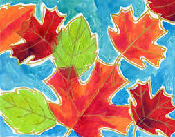 These Are Cut Out Tissue Paper Leaves Outlined With A Gold Marker And Enhanced Just Bit Of Watercolor Paint