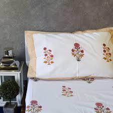 Jaipuri Floral And Leafy Print Design Single Bedsheet