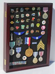 Pin And Medal Display Case Wall Cabinet With Glass Door Solid Wood PC01