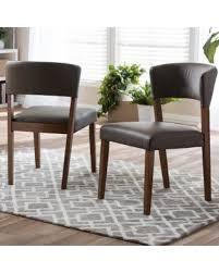 Baxton Studio Montreal Mid Century Dark Walnut Wood Grey Faux Leather Dining Chairs