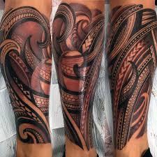 Patter Mens Polynesian Tribal Leg Sleeve Tattoo Ideas