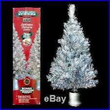 SILVER TINSEL FIBER OPTIC CHRISTMAS TREE With VINTAGE COLOR WHEEL MOVEMENT
