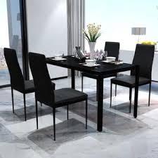 5tlg esstisch set mit 1 gehärtetes glas tisch und 4 kunstleder stühlen schwarz