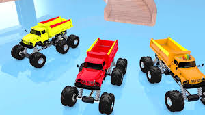 100 Monster Truck Cookies Colors For Children To Learn With Rainbow Colors 3d