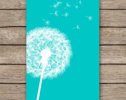 20x30 Dandelion Art Print Teal Home Decor Nursery