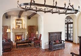 terracotta floor tile living room mediterranean with arch doorway
