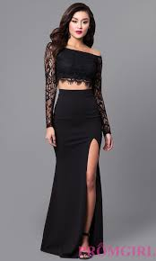 two piece black lace prom dress with long sleeves lace prom