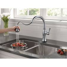 Delta Touch Faucet Battery by Delta Faucet 9197t Dst Cassidy Polished Chrome Pullout Spray