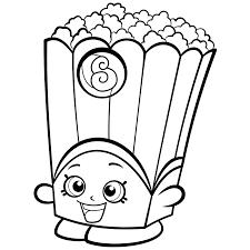 Popcorn Box Poppy Corn Coloring Page Shopkins