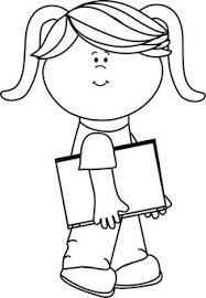 School Girl Black And White Clipart 1