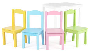 STek Shop: Kids Play Table Chair Set 5pc Toddler Child White Pastel ...