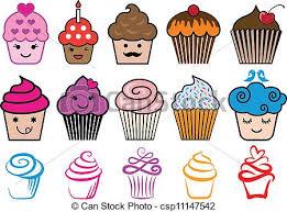 Cute Cupcake Designs Vector Set