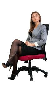 fice Chairs For Women Business Woman Sitting In A Chair Isolated