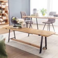 wohnling esszimmerbank mango massivholz 160x47x42 cm holzbank massiv industrial design küchenbank essbank groß esstischbank küche ohne lehne