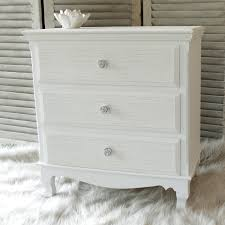 White wood 3 drawer chest shabby vintage chic French bedroom